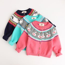 Wholesale Horses Cardigan - Everweekend Kids Girls Western Autumn Animal Swan Rabbit Horse Cardigans New Baby Coats Candy Colors Outwears