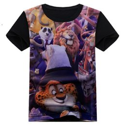 Wholesale Dress 12years - 2017 Zootopia Children Clothes Boys T-Shirts Short Sleeve Kids Tees Shirts Fashion Summer Girls Tops Dresses Blouses 2-12years