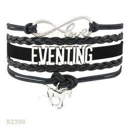 Wholesale Black White Painting Set - (10 Pieces Lot) Infinty Love Eventing Paint Horse Charm Bracelet Leather Wrap Black Red Mint Blue White Bracelet Drop Shipping
