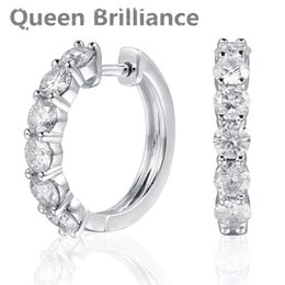 Wholesale moissanite diamond earrings - Queen Brilliance 1.8ctw Lab Grown Moissanite Diamond Earring Platinum Plated 925 Sterling Silver Earring For Women Jewelry q171026