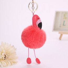 Wholesale Metal Shaped Keychain - Flamingo Keychain Fashion Women Bag Decoration Car Key Ring Fluffy Artificial Fur Cartoon Animal Shape Pompom Key Chain Pu Leather
