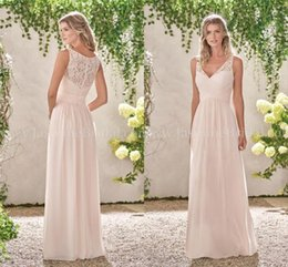 Wholesale Peach Long Wedding Dresses - 2018 Peach Lace Chiffon Bridesmaid Dresses V Neck A Line Long Maid of Honor Gowns Country Wedding Guest Dresses Custom Made