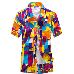 Wholesale Wholesale Mens Shirts Buttons - Wholesale- 2017 Mens Summer Beach Lapel Neck Front Buttons Short Sleeves Floral Tops Hawalii Slim Fits Shirts Plus Size S-2XL