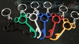 Wholesale Lovely Bear Stainless Steel - Useful Lovely Metal mickey Shaped Wine Bear Bottle Opener Ring Keychain Key Chain Lovely Cooking Tool Gizmos Beautiful 500pcs
