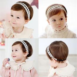 Wholesale Baby Headbands Ribbon Lace - Baby Girls Headbands Korean lace Rhinestone Princess Headwear Kids Elastic Ribbon Hairbands Children Hair Accessories Headdress KHA380