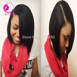 Wholesale U Part Wigs - 1*3 Right Opening U Part Wigs Short Peruvian U Part Wigs For Black Women Silk Straight Upart Human Hair Bob Wig For Sale