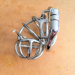 Wholesale Bdsm Locked Cock - New design Side lock 60mm length Stainless Steel Small Male Chastity Device Short Cock Cage For BDSM