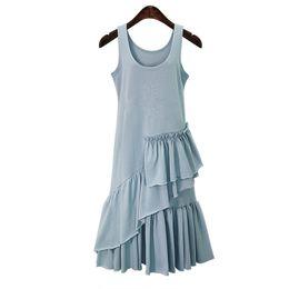 Wholesale Long Cotton Sundresses Women - Layo Fashion Women Long Tank Dress Cotton Blue Ruffles Beach Summer Sleeveless Loose Casual Brand Vestidos Mujer Sundress