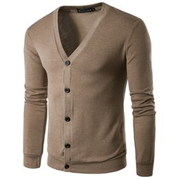 Wholesale Cardigan Sweaters Short Men - 2018 Mens Cardigans Sweater Men Cardigan with Buttons V Neck Sweater Pullover Y39