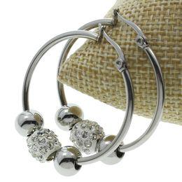 Wholesale Wholesale Earring Loops - Wholesale- Steel Color New Designs Rhinestone Ball Beads Charms Stainless Steel Hoop Earring Punk Steel Color Round Loop Circle Earrings