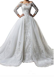 Wholesale White Wedding Dress 14 - Vintage Bateau Neck Lace Long Sleeve Wedding Dresses With Detachable Skirt Plus Size Illusion 2018 Train vestido de noiva Bridal Gown Ball