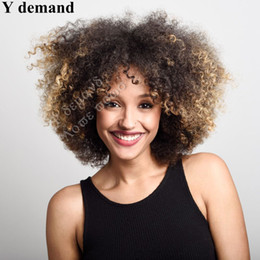 Wholesale Curly African American Wigs - Newest Kinky Curly Wigs for Black Women Ombre Brown Blond Wig African American Short Wigs Natural Curly Hair Heat Resistant Wig for Women