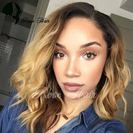 Wholesale Short Lace Wigs Two Toned - Two Tone Short Body Wavy Bob Ombre T1B 27 wigs Full lace Human Hair Wigs With Baby Hair