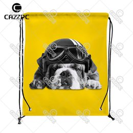 Wholesale French Print Fabric - Wholesale- Black and white cute french Bulldog with Hat Yellow Pattern Print Custom individual Nylon fabric Drawstring Backpack gift bag
