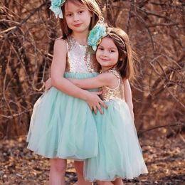 Wholesale Cute Shirts For Girls - Cheap Short Little Flower Girls Dresses for Wedding Party 2017 Cute Knee Length Tulle Sequin Summer Kids Short Length