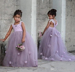 Wholesale kids pageant puffy gowns - 2017 Lovely Lavender Lilac Puffy Tulle Kids Formal Wear Gowns Flower Girl Dresses with Hand Made Flowers Backless Arabic Girls Pageant Gown