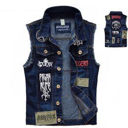 patch punk della maglia Sconti Gilet da uomo vintage gilet senza maniche Giacche patch moda stile punk rock strappato Cowboy sfilacciato denim gilet