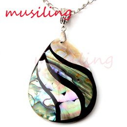 Wholesale Necklace Pearl Red Shell - Pendants Necklace Chain Water Drop Abalone Shell Pendant Alternate Splicing Pendant Accessories Silver Plated European Trendy Jewelry