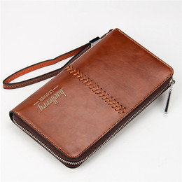 Wholesale Leather Clutch Bags Men - Luxury Brand Men Wallets High Capacity Clutch Bag Oil Wax Leather Men Clutch Wallet Coin Purse Male Wrist Strap Wallet Bag