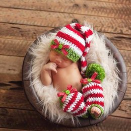 Wholesale lovely boys photos - Crochet Lovely Long Tail Cap Photography Props Design Baby Sock Newborn Photo Props Knitted Baby Costume Crochet Baby Sock BP070