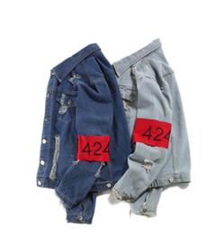Wholesale Mens High Fashion Wear - free shipping 2017 newest Autumn and winter European mens wear justin bieber 424 short cut denim kanye west jacket high street jacket