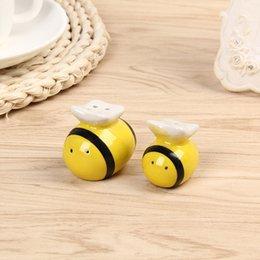 décor d'abeille Promotion Condiment Céramique Pot Abeille Modélisation Sel Et Poivre Pot Assaisonnement Boîtes De Mariage Faveur Cadeau Décor À La Maison 3 3lw F R
