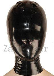 Wholesale Full Latex Hood - Hot New sexy products exotic lingerie handmade black unisex latex full face hoods mask back zipper cekc Fetish zentai costume