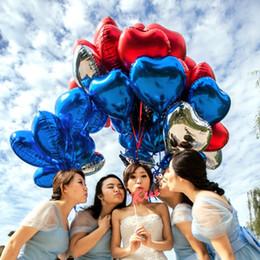 forma de corazón globos de aluminio Rebajas 50 unids / lote 18 '' 45 * 45 cm Color puro en forma de corazón Globos de helio en forma de amor Cumpleaños feliz año nuevo decoración del partido
