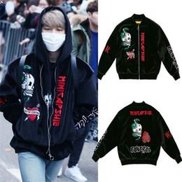 Wholesale black velvet long coat - ALLKPOPER KPOP BTS JIMIN Velvet Embroidery Padded Coat Bangtan Boys Varsity Black Jacket Outwear