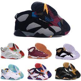 2019 suéter deportivo para mujer Mejor calidad 7 s zapatos de baloncesto para hombre 7 Raptor Bordeaux Alternate Hombres Mujeres Suéter azul francés Zapatillas de deporte olímpicas tamaño 7-13 suéter deportivo para mujer baratos