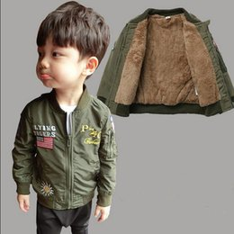 Wholesale Korean Children Boys Jacket - Kids Boys Jacket Coat, Korean Baseball Style Children Clothing, 2016 Autumn Winter Army Outerwear Coat, Baby Boys Clothes