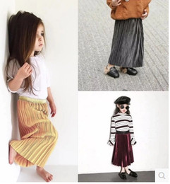 Wholesale Long Line Skirt Pattern - 2017 spring autumn children summer skirts girl pleuche long pattern pleated skirt baby bust skirt