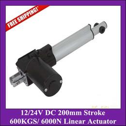 Wholesale dc linear actuators - 12  24V DC 8inch=200mm Stroke Linear Actuators With 600KGS  6000N  1320Lbs Force actuator linear