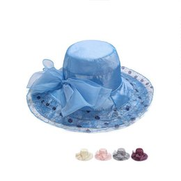 Wholesale Women Summer Anti Uv Hat - Hot sale Spring and summer silk sunscreen beach hat woman bright wire large side sun hat anti - UV hat DMB025