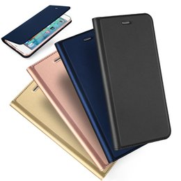 Wholesale Ultra Slim Case For Iphone - For iphone 6 7 Plus DUX DUCIS Skin Seires Slim Leather Flip Case Ultra Thin Leather Wallet Cover For iphone7 5 SE 6S
