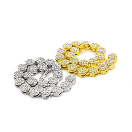Wholesale Diamond Gold Tennis Bracelet - Mens Full CZ Iced Out Gold Plated Beads Hip Hop Bracelet Gold White Rhinestone 18k Yellow Gold Silver Finish Bling Bling 8inch Bracelet
