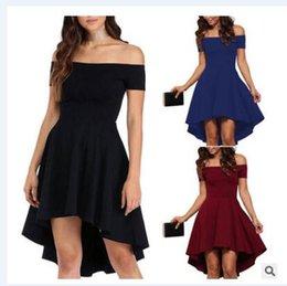 Wholesale Slash Burst - 2017 Europe and the United States new women's dress burst section of the word short-sleeved short-sleeved swallowtail skirt