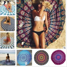 Wholesale Tablecloth Round Plain White - 50pc Round Mandala Beach Towels 24 Style Print Tapestry Hippy Boho Tablecloth Bohemian Beach Towel Serviette Covers Shawl Wrap Yoga Mat B54
