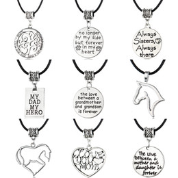 Wholesale Silver Family Necklace - Fashion New Leather Charm Necklace Antique Silver with Letter Stamped Charm Necklace Family Necklace Gift for Mother and Father