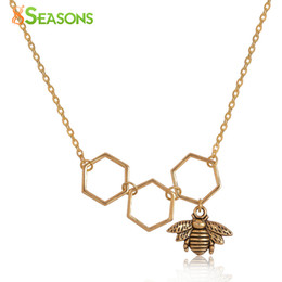 """Wholesale Gold Bee Necklace - Wholesale- 8SEASONS Necklace Gold Plated Gold Tone Color Honeycomb Bee Hollow 48cm(18 7 8"""") long, 1 Piece"""