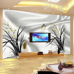 Wholesale Printing Photos Metal - Wholesale-3D Photo wallpaper mural home decor background wallpaper livingroom Silk orchid photo 3D HD photo large wall art Non-Woven mural