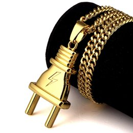 Wholesale Gift Packs For Men - New Arrival Plug Pendant Necklace Pendants Hip Hop Gold Color For Men Women Packing With Gift Box Hip Hop Cuban Chain Fashion Jewelry