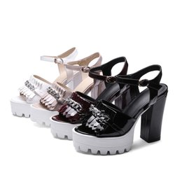Wholesale Burgundy Patent Leather Platform Heels - Women's shoes 2017 summer Tassels high heel waterproof table sandals fish mouth Roman shoes high platform sexy ladies sandals