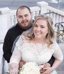 Wholesale Off Shoulder Lace Wedding Bolero - Plus Size Sheer Wedding Bolero Lace 3 4 Sleeves Bridal Jacket Applique White Off Shoulder Bridal Accessories