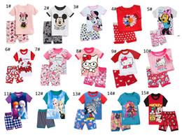 Wholesale Kids Girls Sleepwear Long Sleeve - Kids Pajamas children summer short sleeve pajama set girl cotton sleepwear top+short 2pcs set kids summer clothes set 6 sets lot