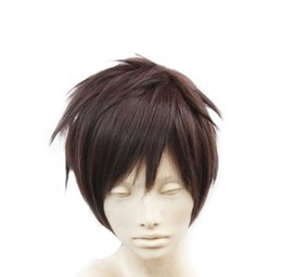 Wholesale High Quality Wig Men - 100% New High Quality Fashion Picture full lace wigs Short Men Male's Brown Short Straight Anime Fashion Cosplay Party Full Hair Wig