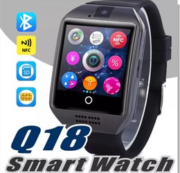 Wholesale High Altitude - Q18 Smart Watch Bluetooth Wearable Curved Screen High Quality Support NFC SIM GSM Facebook camera For Android IOS Phone Wristwatch SB-Q18