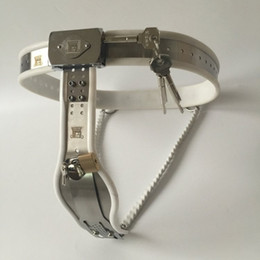 Wholesale Steel Female Chastity Belts - New Female Adjustable Model Y Fully Adjustable Stainless Steel white Chastity Belt Device With Anal Plug BDSM Sex Toys