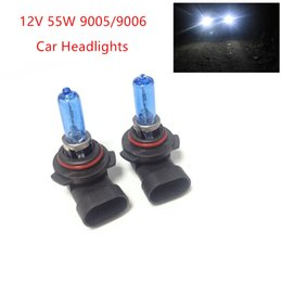 Wholesale Halogen Car Lights - New 2pcs 12V 55W 9005 9006 Ultra-white Xenon HID Halogen Auto Car Headlights Bulbs Lamp Auto Parts Car Light Source Accessories