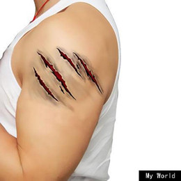 Wholesale Horror Halloween Decorations - Artificial Jokes, Fake Wounds, Tattoo Stickers,With Fake Scab Bloody Costume Makeup,Halloween Decoration Terror Wound Scary Sticker